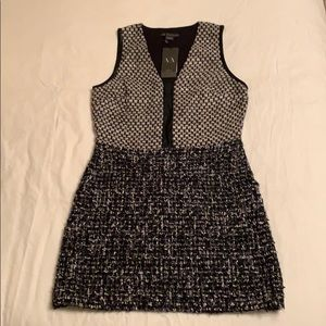 Armani Exchange Leather and Tweed Dress